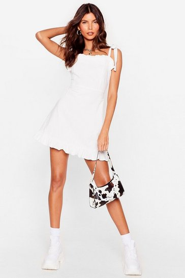 White Tie Strap Ruffle Mini Dress