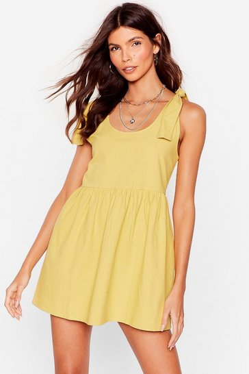 Lime Tie Strap Mini Smock Dress