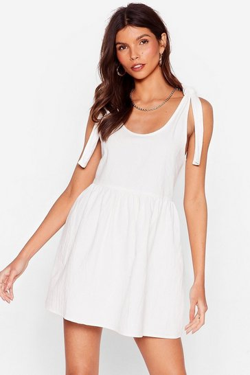 White Tie Strap Mini Smock Dress