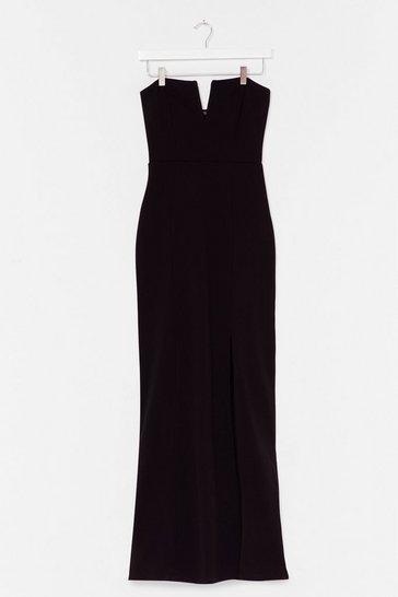 Black What's It Gonna V Slit Maxi Dress