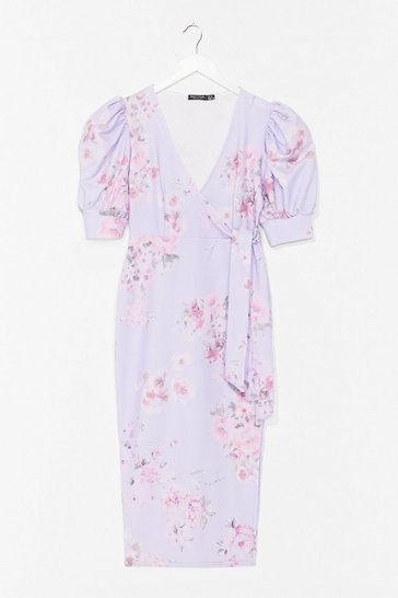 Lilac Spring into Action Floral Midi Dress
