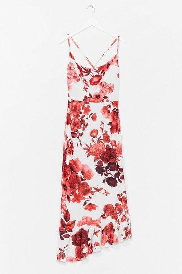 White Hit the Dance Floral Midi Dress
