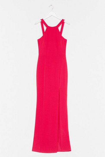 Hot pink Final Lap Racer Maxi Dress