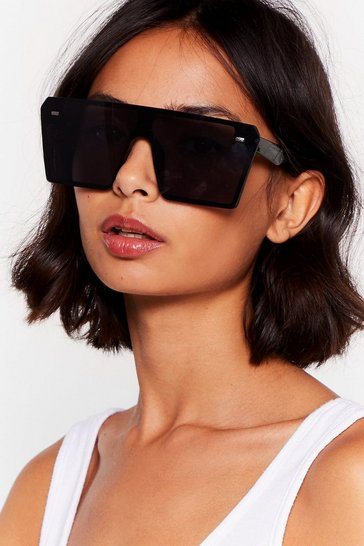 Black Square On Your Side Oversized Sunglasses