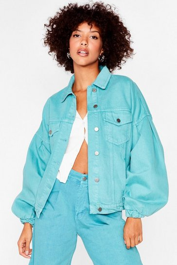 Jade Drop Balloon Sleeve Denim Jacket