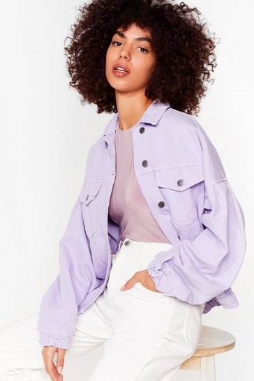 Lilac Volume Sleeve Denim Jacket