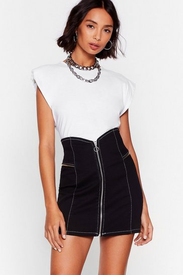 Black V Are the Champions Denim Mini Skirt