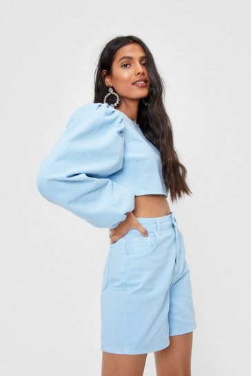 Baby blue Cropped Balloon Sleeve Denim Top