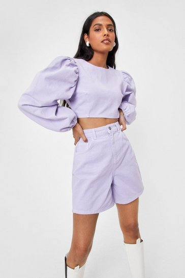 Lilac Cropped Balloon Sleeve Denim Top