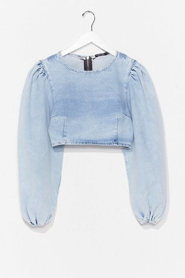 Washed blue Long Sleeve Denim Crop Top