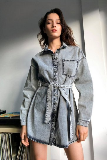 Black Acid Wash Denim Longline Shacket