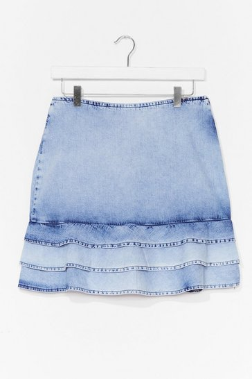 Washed blue You Better Wash Out Denim Mini Skirt