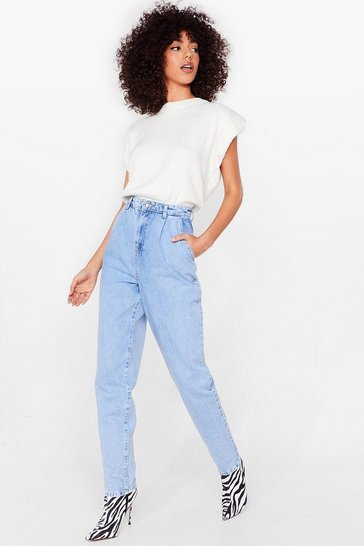 Vintage blue Acid Wash Your Words High-Waisted Mom Jeans