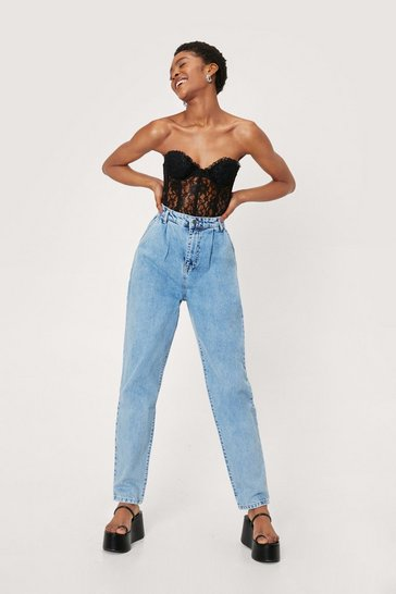 Washed blue Wash Your Words High-Waisted Mom Jeans