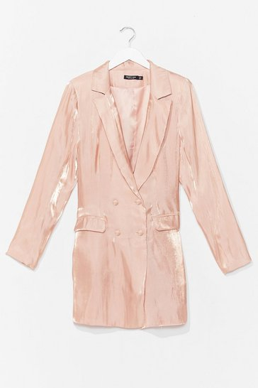 Peach Cool Down Shimmer Blazer Dress