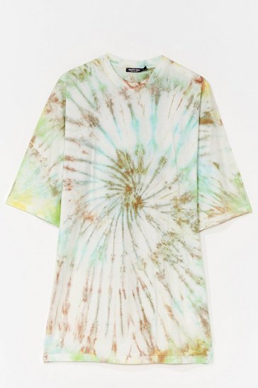 Cream Groovy Thing Goin' Baby Tie Dye Tee Dress
