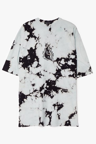 Dark green Yin and Yang Tie Dye T-Shirt Dress