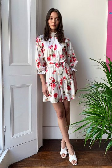 White Stalk to You Later Floral Belted Mini Dress