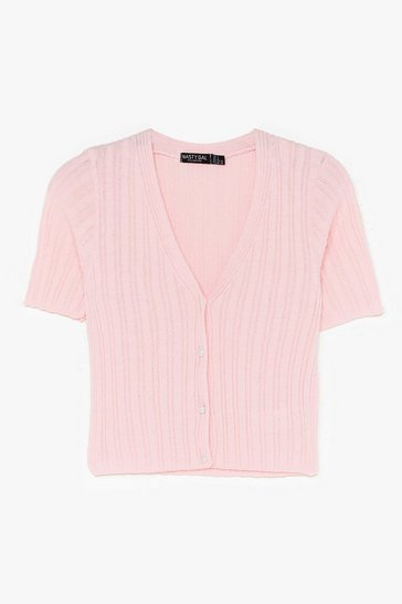 Pale pink Drop of Heaven Ribbed Cropped Cardigan
