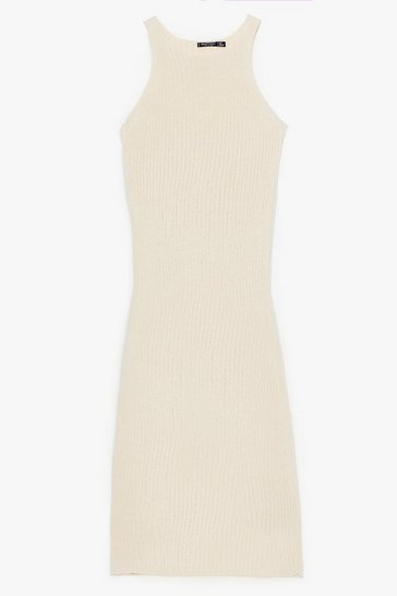 Ecru Recycled Had Knit Coming Racer Maxi Dress
