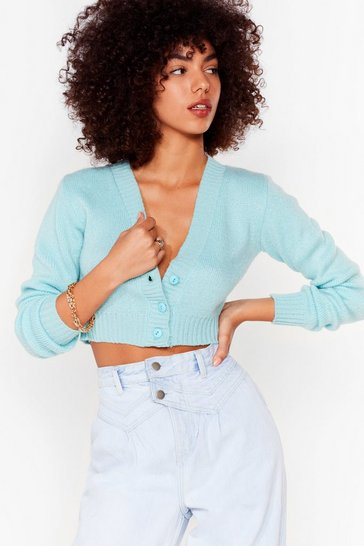 Aqua Make Knit Happen Cropped Cardigan