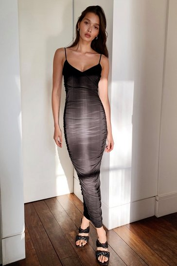 Black Crease Me Up Ruched Maxi Dress