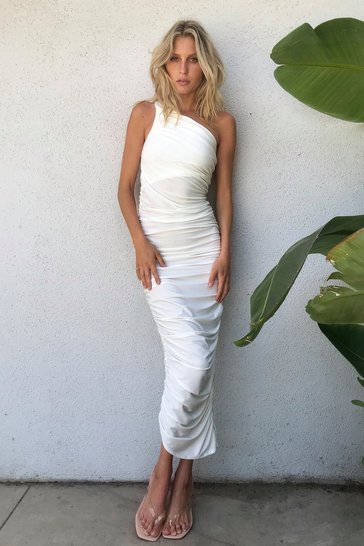 Ivory Don't Ruche a Good Thing One Shoulder Maxi Dress
