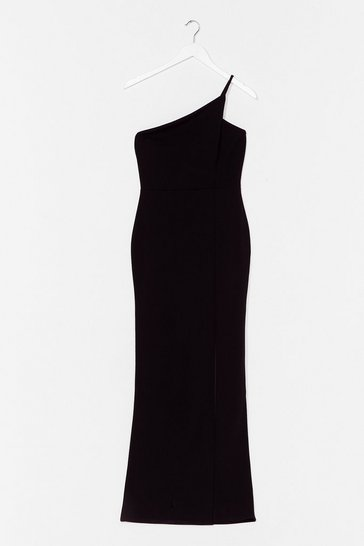 Robe asymétrique longue à fente Love me all night, Black