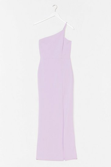 Lilac Draw the Neckline Asymmetric Maxi Dress