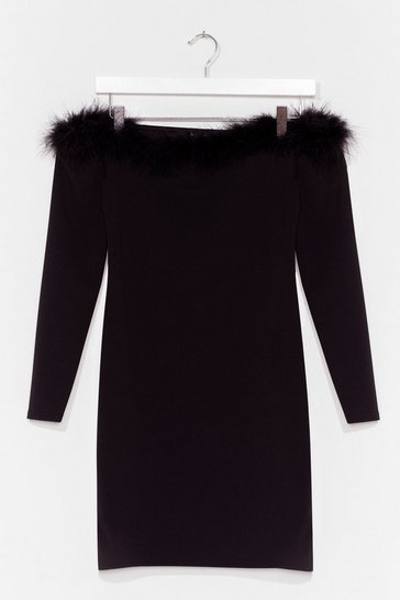 Black Feather too Much Off-the-Shoulder Mini Dress