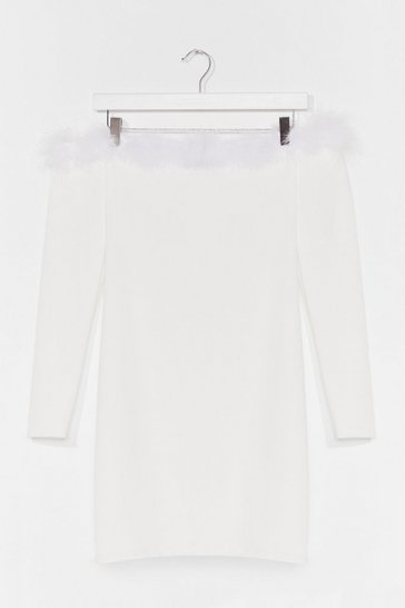 White Feather too Much Off-the-Shoulder Mini Dress
