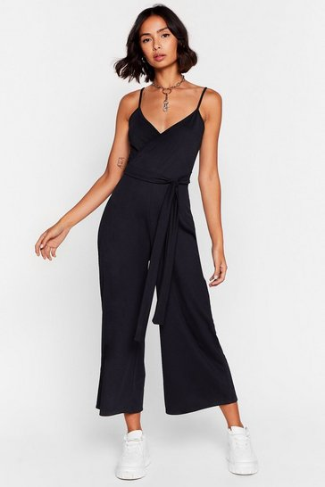 Black Tie Waist Ribbed Belted Jumpsuit