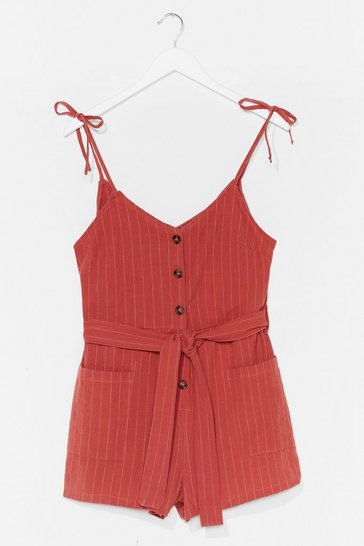 Terracotta That's All Stripe Button-Down Belted Romper