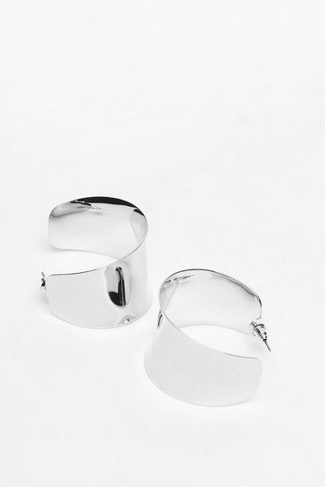 Silver Thick Edge Hoop Earrings