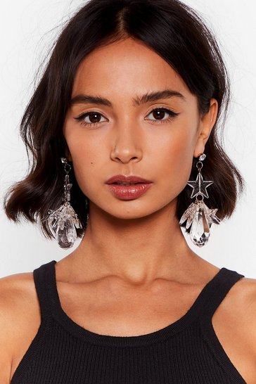 Star-t the Music Clear Drop Earrings