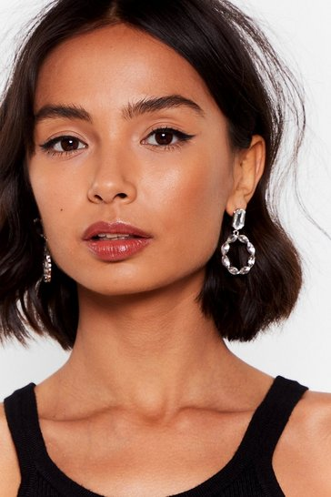 Silver Goin' Round In Circles Diamante Earrings