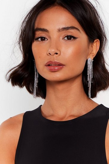 Silver In Full Swing Diamante Drop Earrings