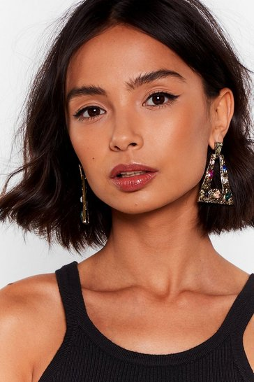 Gold Don't Let 'Em Jewel You Door-Knocker Earrings