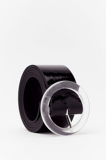 Black Let's Make Things Clear Faux Leather Belt