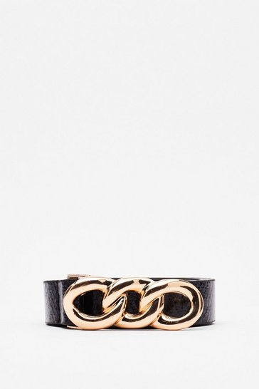 Black Stay in Your Chain Faux Leather Belt