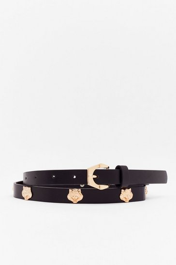 Black One Roar Chance Lion Faux Leather Belt