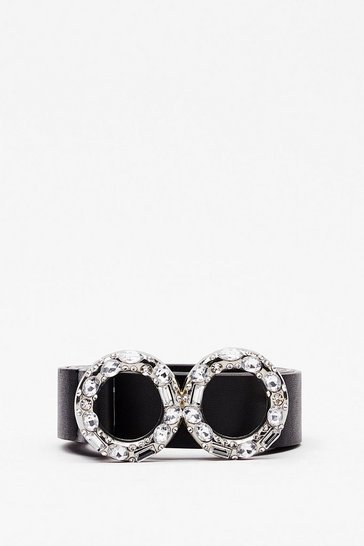 Black Double or Nothing Diamante Faux Leather Belt