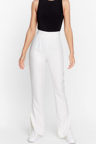 Ecru Make a Run for Split High-Waisted Pants