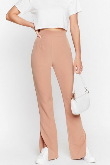 Tan Make a Run for Split High-Waisted Pants