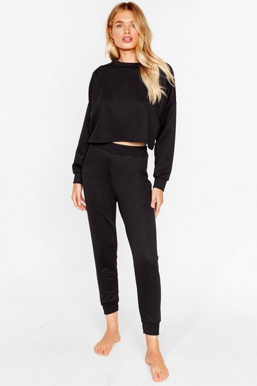 Black Work Things Out Sweater and Joggers Lounge Set