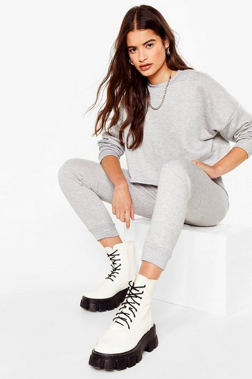 Grey marl Work Things Out Jumper and Joggers Lounge Set