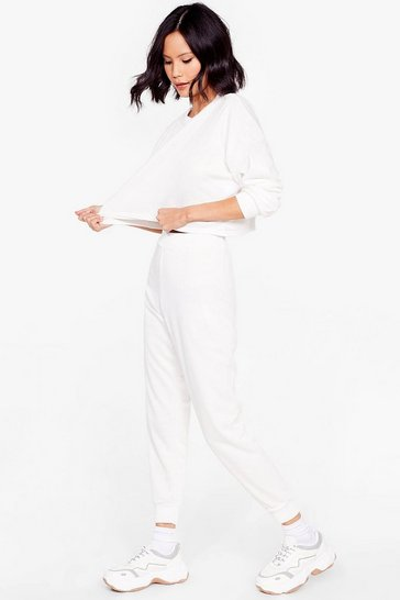 White Work Things Out Sweater and Joggers Lounge Set