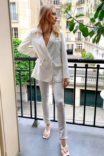 White Home Office Tailored Slit Pants