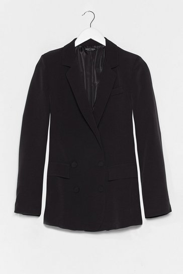 Black Home Office Double Breasted Tailored Blazer
