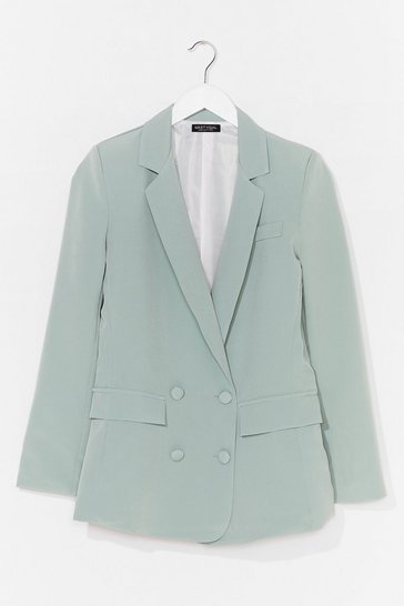 Mint Take Charge Double Breasted Tailored Blazer